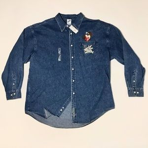 NWT | Warner Brothers | Button Up | Denim Shirt
